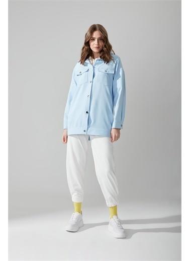 Mizalle Düğmeli Gömlek Mavi Ceket Mavi